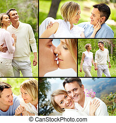 Time of love - Collage of young happy couple enjoying...