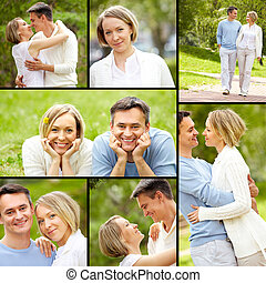 Summer romance - Collage of young happy couple enjoying...