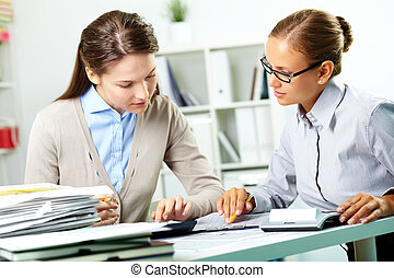 Accountants at work - Portrait of young businesswomen...