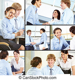 Managers at work - Collage of business partners negotiating...