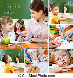 Schoolwork - Collage of pupils and their teacher in...