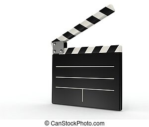 3d movie clapper board on white background