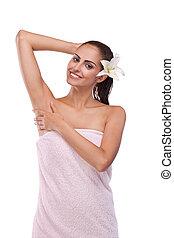 brunette spa woman - Beautiful brunette spa woman in the...