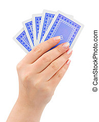 Hand with playing cards