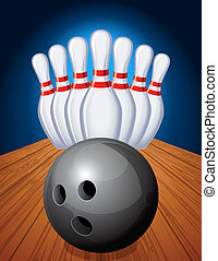 bowling - Vector illustration - bowling pins and ball