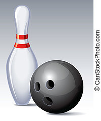 bowling - Vector illustration - bowling pin and ball