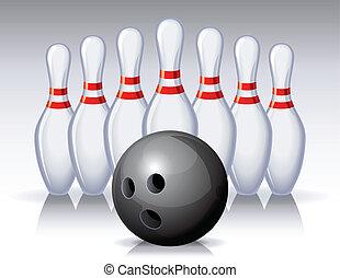 bowling - Vector illustration - bowling pins and ball