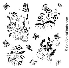 Set with butterflies and flower pat