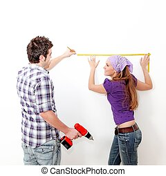 home improvements, couple with drill