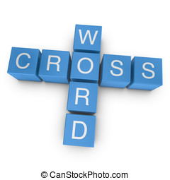 Crossword concept, 3D rendered image on white background