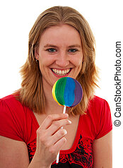 Young woman with colorful lolly