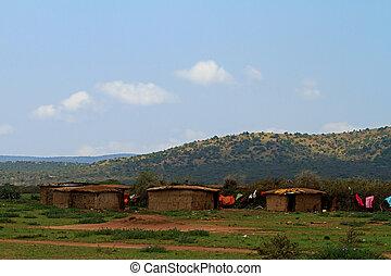 Traditional Masai village in Kenya Africa