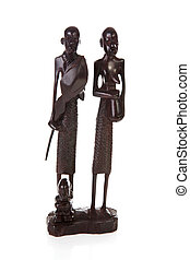 African carving, ebony masai family over white background