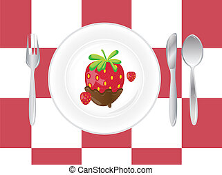 place setting on red -white background