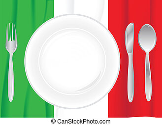 place setting with italian flag