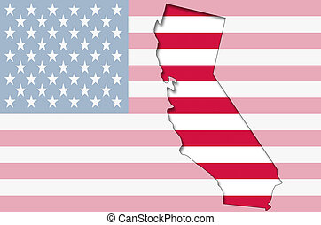 Outline map of California on american flag - Transparent...