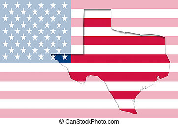Outline map of Texas on american flag