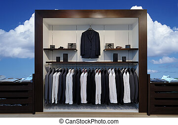 Show-window with suits and other goods for respectable men