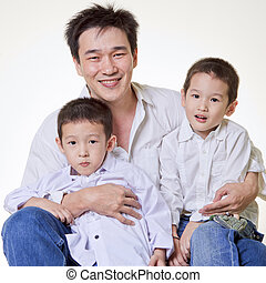 Asian Family - Asian family, father with two sons.