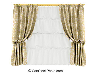 orange curtain, isolated on a white background