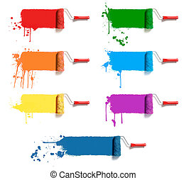 color paint rollers - roller brushes with seven colors paint
