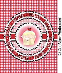 Recipe book - Gingham recipe book cover with cupcake....
