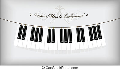 Hanging piano keyboard with place for your text