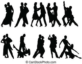 tango - silhouettes of people dancing tango
