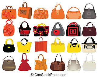 bags - set woman's bags vector