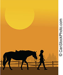 Horse and Child - A silhouette of a child leading her horse...