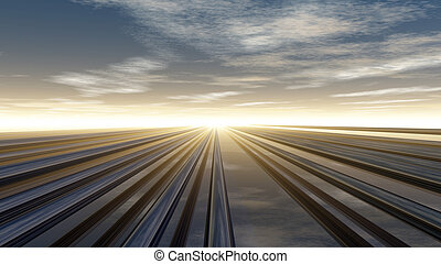 pipelines - metal pipelines under cloudy sky - 3d...