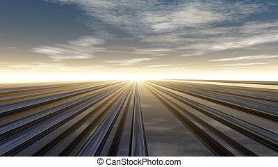 pipelines - metal pipelines under cloudy sky - 3d...