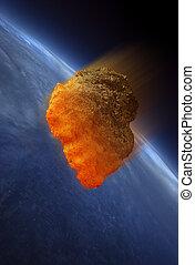 Meteor striking Earth atmosphere - Meteor heating up as it...