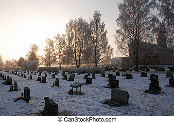 Snow landscape - Picture of a snow landscape at a graveyard
