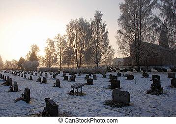 Snow landscape - Picture of a snow landscape at a graveyard