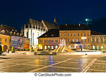 Brasov Black church at twilight - Transylvania, Romania -...