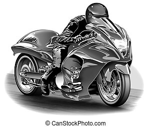Dragbike - B&W Airbrush Illustration