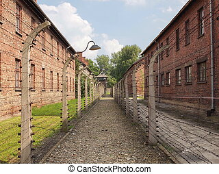 Auschwitz, concentration camp barbed wire fence