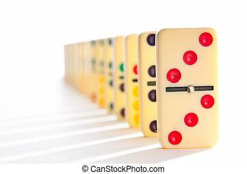 muitos,  domino, efeito, pedaços