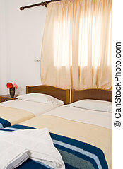 Greek Island guest house room interior Ios Cyclades Greece -...