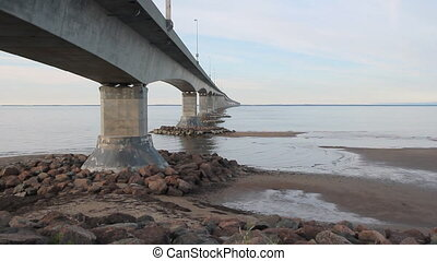 Bridge supports. Confederation bridge linking New Brunswick...