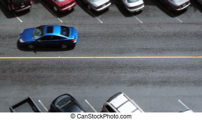 Toy car street. - Aerial view of downtown street. Traffic...