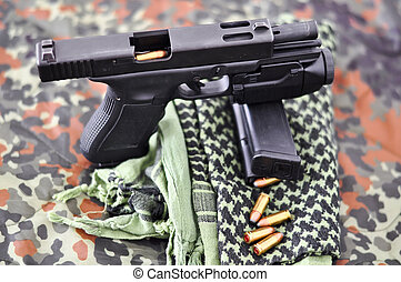 military handgun with a tactical laserlight-module - 9mm...