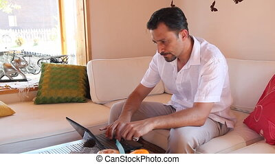 sad man using a laptop,  shoot Canon 5D MarkII