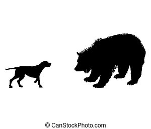 Two animals, setter and grizzly bear meet face to face