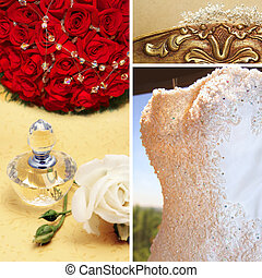 Collage of beautiful wedding accessories.
