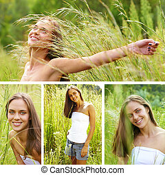 collage of a beautiful young brunette woman .