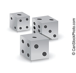 dice over a white background