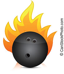 bowling ball on fire illustration