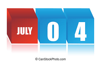 Calendar showing July 4 - Independance Day